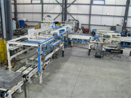 Stacking and handling line with the capacity to support concrete blocks ranging from 50 to 200 mm.